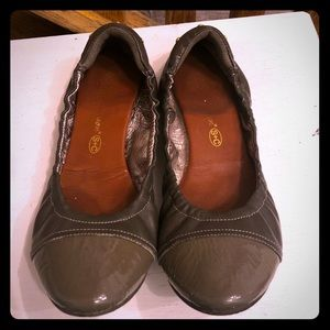 Grey leather flats